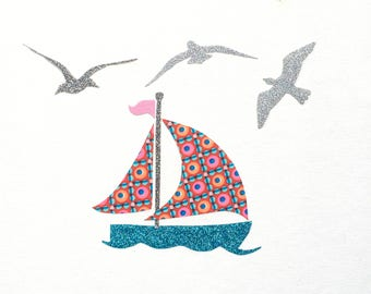 "Applied fusible ""Sailboat for holidays and the seagulls"" liberty"