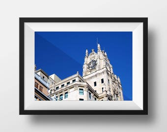 White Buildings of Madrid Spain | Spanish Architecture | Fine Art Photo | Downtown Madrid | Image File (Digital Download)