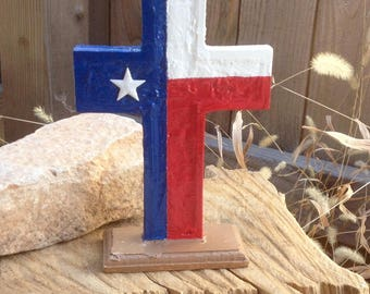 "Cubicle Buddy - Texas Flag Standing Cross - 7"" - Handmade - Hand Painted - Office Decor - Dorm Room - Small Wooden Cross - Easter Gift"
