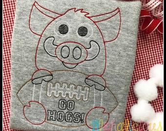 Razorbacks Football Mascot Vintage Embroidery Design