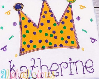 Mardi Gras Crown Scribble Applique Design