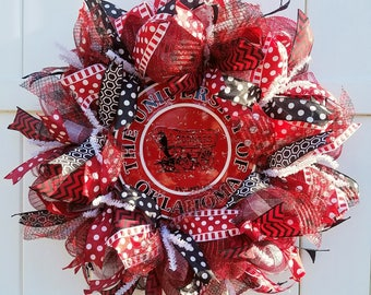 Oklahoma Wreath, OK University Wreath, Sooners Wreath, University of Oklahoma Wreath, Oklahoma Sooners Wreath, OK Football Wreath, OK Wreath