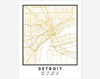 Detroit Map Coordinates Print - Michigan City Street Map Art Poster, Gold Detroit Map Print, Detroit United States Coordinates American Map