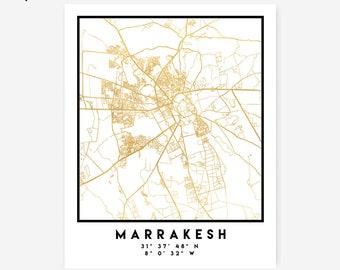 Marrakesh Map Coordinates Print - Morocco City Street Map Art Poster, Gold Marrakesh Map Print, Marrakesh Morocco Coordinates Poster Map