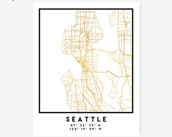Seattle Map Coordinates Print - Washington City Street Map Art Poster, Gold Seattle Map Print, Seattle Washington Coordinates Poster Map Art