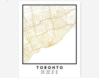 Toronto Map Coordinates Print - Canada City Street Map Art Poster, Gold Toronto Map Print, Toronto Canada Coordinates Canadian Poster Map