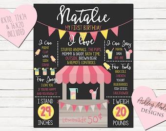 Pink Lemonade First Birthday Chalkboard - Custom Chalkboard Design- 1st Birthday Chalkboard - Second Birthday - Lemonade - Lemons - Pink