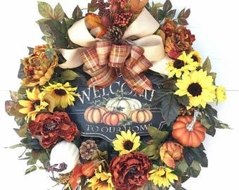 On Sale Fall Wreath with Welcome Sign, Large Thanksgiving Wreath, Harvest Wreath, Autumn Wreath, Wreaths, Fall Decor, Fall Front Door Wreath