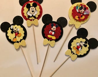 12 glitter  3D mickey mouse cupcake toppers