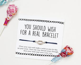 Wish for a Real Bracelet Friendship Bracelet, Snarky Gift, Cheap Gift, Card as Gift, white elephant, String Bracelet, Funny Card, joke gift