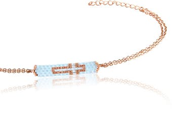 Pink Gold Plated Sterling Silver Bracelet with a Cross