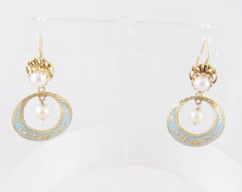 Antique  14 Kt Gold  with Robins Egg Blue Enamel Work and SEED PEARLS EARRINGS