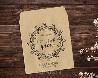 Wedding Favor, Seed Packet Envelope, Seed Favor, Wedding Seed Packets, Woodsy Wedding, Wedding Favor, Boho Wedding, Let Love Grow x 25