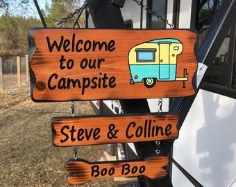 Camper Sign with vintage camper