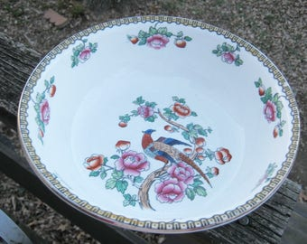 F. Winkler & Co. Ltd Serving Bowl, Pheasant Pattern, Made in England, Whieldon Ware, 8 3/4 Inch Diameter, Small Chip, 3 Inches Deep