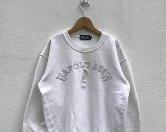 20% OFF Vintage U.S Polo Association Embroidery Logo Sweatshirt / U.S Polo Sweater / Big Logo / Spell Out