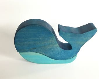 Wood Whale Toy, Wooden Stacking Whale, Whale Blocks