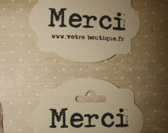 "10 ""Merci"" tags personalized with the name of your shop or email address"