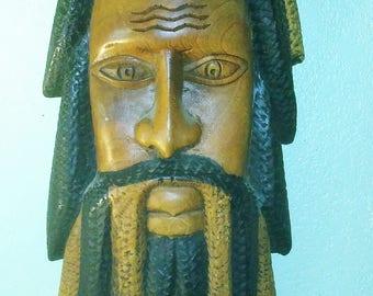 Jamaican Wooden Sculpture of Rastafarian Man