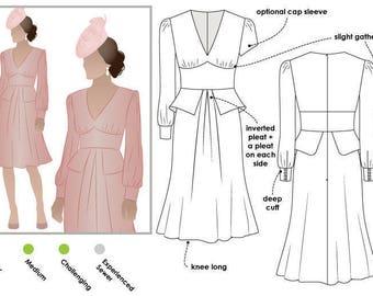 Style Arc Sewing Pattern - Peony Woven Dress - Sizes 26, 28, 30 - Dress PDF Sewing Pattern
