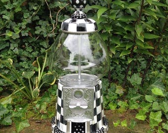 Whimsical Hand Painted Gumball Machine Alice in Wonderland black white checks