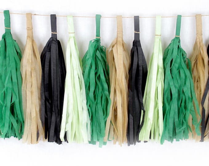 Where The Wild Things Are Tassels, Tissue Tassels, Tassel Banner, Birthday Party Decor, DIY Tassels Boy Birthday Baby Shower Green Wild Free