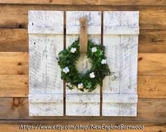 Farmhouse Shutters,Board and Batten,White Shutters, Wall Mount Shutters, Window Shutters, Rustic Shutters, Interior Shutters,White Shutters