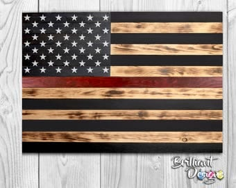 Wooden American Flag - Thin Red Line American Flag, Burnt Wood,Fire Fighters,Rustic Wooden American Flag,Christmas Gift, Holiday Gift,Trendy