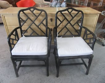 Pair of Rattan Chippendale Chairs Palm Beach Regency