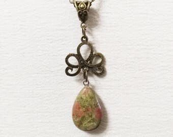Unakite necklace pendant natural stone
