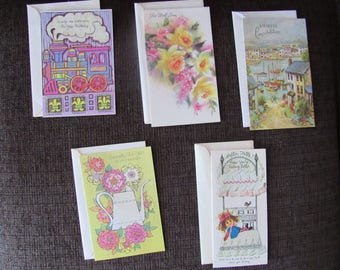 Lot of 5 Vintage Unused Greeting Cards Happy Birthday Get Well Free Shipping
