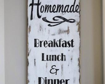 Homemade breakfast lunch & dinner sign. Kitchen sign/ Kitchen decor/ Kitchen wall decor/ rustic kitchen sign/ rustic kitchen decor