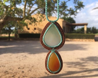 Macrame necklace with Brown and green Onyx