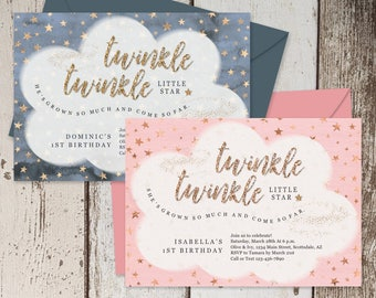 Printable Twinkle Twinkle Little Star Invitation Template - Girl & Boy 1st / First Theme Birthday Party - Instant Download Digital File PDF