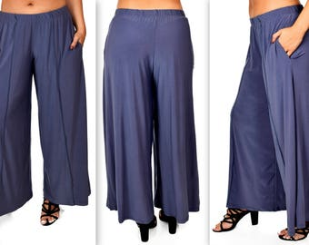 Comfy Plus Pants, Gray Pants, Tiered Pants, Plus Size Pants, Lagenlook Pants, Palazzo Pants, Palazzao Pnts, Size XL To 5XL