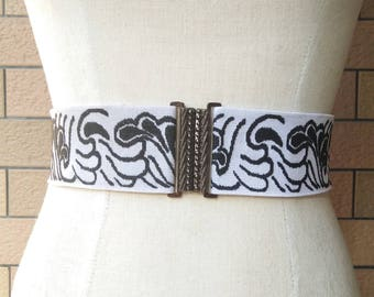 2 inch Blck/off white belt,Elastic belt,Stretch Belt,Cinch BeltWaist belt, Elastic waist belt,Waist belt -(JF)030/000