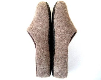 Wool felted slippers with leather soles/Home wool shoes/Scandinavian style