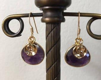 Amethyst charm drop earrings
