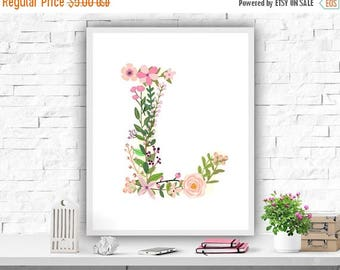 SALE Monogram Printable, Nursery Wall Art Print, Initial Personalized Decor, Monogram L, Pink Decor, Baby Girls, Instant Download