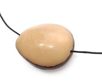 SALE 15% OFF Tagua Nut, beige, two-sided 42 mm, 1 flattened,