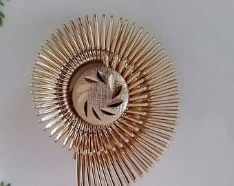 Swirl gold tone Scarf clip,  Western Germany signed, with leaves etched in center, 1950's