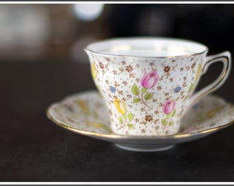 Vintage Rosina Bone China Set Tea Cup(June 4794 A) and Saucer Made in England