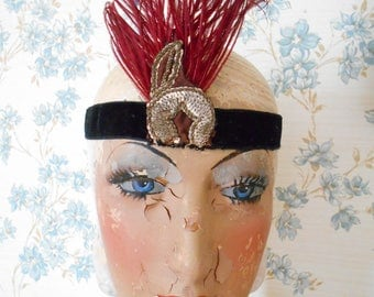 Awesome French Art Deco 1920's Flapper Headband with Feather