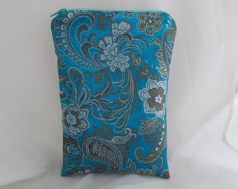 Brocade Tarot Card Bag Turqoise Blue, Silver and Gold Floral with Silver Satin Lining and Zipper Dice Makeup Pouch Fancy