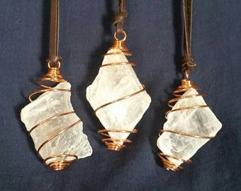 Three LARGE Selenite Hanging Crystals // Boho Tribal Meditation Crystals // White Healing Selenite Pendant for Beauty, Peace & Protection