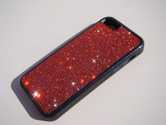 iPhone 5C Red Siam Rhinestone Crystals on Black Rubber Case. Velvet/Silk Pouch Bag Included, Genuine Rangsee Crystal Cases.