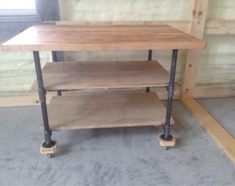 Industrial Black Pipe Leg Rolling ISLAND Butcher Block top Reclaimed Wood Shelves