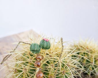 Summer 2017 EchinoCereus Cactus-green small fimo lobe earrings. Gift for a friend. Gift for you. Birthday Gift Nickel Free