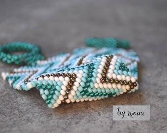 seed beads woven Cuff Bracelet