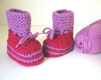 Baby 0/3 wool slippers Boots. 3/6; 6/9 months raspberry & purple - baby girl hand knitted newborn